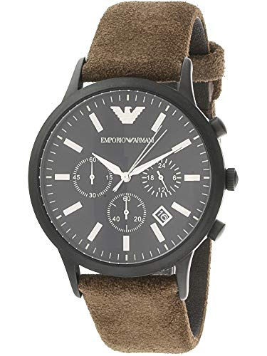 Emporio Armani Men's 'Fashion Watch' Quartz Stainless Steel and Leather Casual, Color:Brown (Model: AR11078)