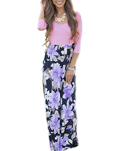 SUNNOE Women's Floral Printed 3/4 Sleeve Scoop Neck High Waist Party Maxi Long Dress Vacation Dress Floor Length (Medium, (Spring Fashion Dresses)