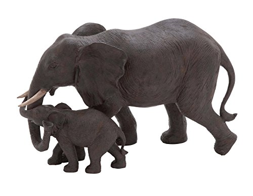Deco 79 Poly-Stone Elephant, 14 by 9-Inch
