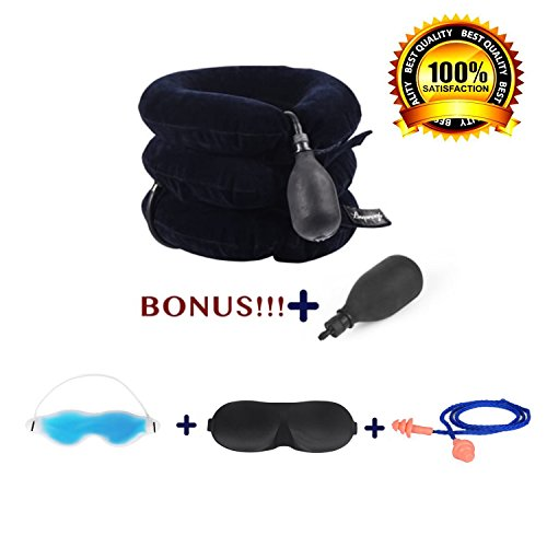Inflatable Cervical Traction Device By Lineproofs: Adjustable Neck Collar For Spine Alignment, Pain Relief, Better Posture - Comfortable Therapy Pillow With Sleep Mask, Gel Eye Mask & Corded Earplugs
