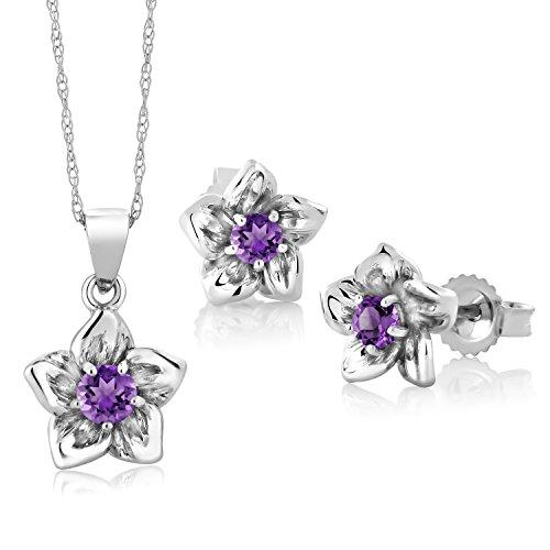 Gem Stone King 18K White Gold 0.27 Ct Round Purple Amethyst Flower Pendant Earrings Set