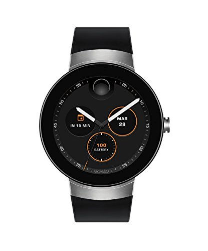 Movado Connect Customizable Dial Silicone Strap Unisex Smartwatch (Movado Black Clock)