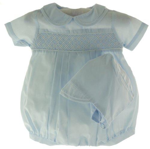 Petit Ami Newborn Newborn Baby Boys Blue Smocked Bubble Outfit & Hat-Newborn
