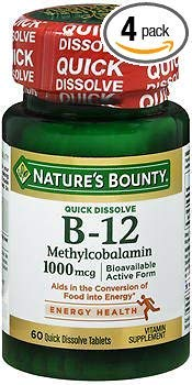 Nature's Bounty B-12 Methylcobalamin 1000 mcg Quick Dissolve Natural Cherry Flavor - 60 Tablets, Pack of 4