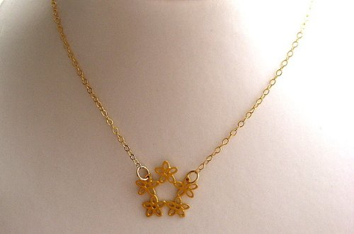 Yael Gueller Collection 18k Gold-Plated Ring of Flowers Necklace