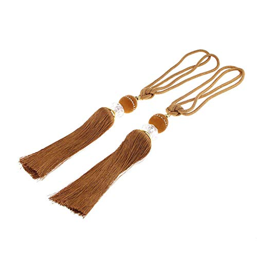 - One Pair Tassels Tieback Modern Curtain Fringe Hanging Ball for Decorative | Color - Light Coffee