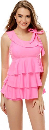 2 Piece Asymmetrical Shoulder Tankini Top with Shorts X-Large Pink