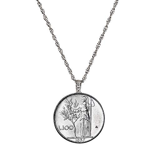 - Italian Lire Coin Pendant Necklace - L.100 Jewelry Lira Coin from Italy for Collectors with Silvertone Chain and Lobster Claw Clasp - Full Shiny Steel Composition for Women | Elegant Gift Box Included