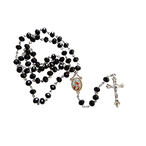 Gifts by Lulee, LLC Saint Michael Archangel San Miguel Arcangel Black Quartz Crystal Faceted Rondelle 8mm Beads Rosary with Silver Plated Crucifix and Medal Centerpiece Includes a Prayer Card