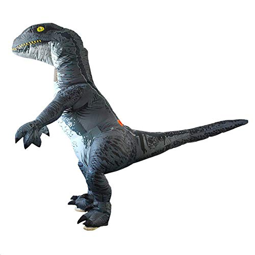 Raptor Halloween Prank (HXYL Adult Halloween Dress Up Dinosaur Costume, Dinosaur Raptor Inflatable Costume Halloween, Christmas, Masquerade, Prank)