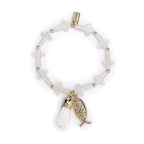 Roman Gold Tassel Fish Bracelet Carded 6 Inches Stretch Semi Precious Gemstones Sp Metal Communion Jewelry with Rosaries Loose Beads (Assortment Carded)