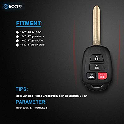 ECCPP Replacement fit for Uncut Keyless Entry Remote Key Fob Shell Case Scion FR-S/Toyota Camry Corolla RAV4 HYQ12BDM (Pack of 2): Automotive
