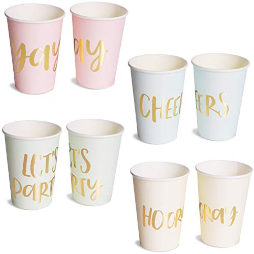 Blue Panda 52-Pack Disposable Paper Party Cups - Gold Foil Party Supplies for Bachelorette Party and Birthday - 4 Designs, Let