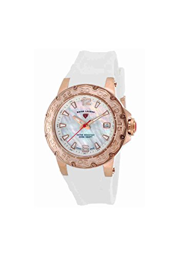 Swiss Legend Women's Quartz Stainless Steel and Silicone Casual Watch, Color:White (Model: SL14098SMRG02WHT)