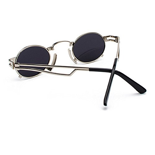 Vintage Retro el Gafas de sol con círculo estuche Punk Sun Azul de Glasses Lentes redonda Steam Eyewear para sol en inspiradas de lente Marco hombres con Mujeres metal BSWCnqT