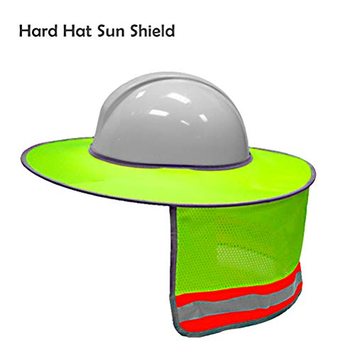 Hard Hat Sun Shield,Full Brim Mesh Neck Sun Shade Protector High Visibility,Reflective(Hard Hat Not Included) by ()