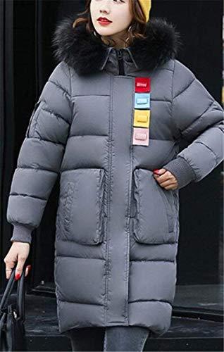 Autunno Moda Donna In Trapuntata Elegante Mantello Outerwear Forti Taglie Dunkelgrau Pelliccia Giacca Collo Especial Piumino Manica Vintage Estilo Invernali Giacche Cappuccio Lunga Con Sintetica rwwHEY