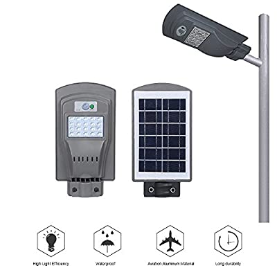 Solar Street Light,20 Watt Waterproof Super Bright Solar Power Smart Led Street Light Outdoor Dusk to Dawn with Motion Sensor, Commercial and Industrial Grade Security IP65 Floodlight