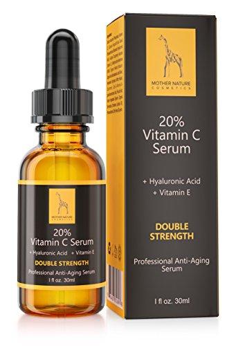 Mother Nature - Pures Vitamin C Serum für das Gesicht || Hautpflege gegen fettige, trockene Haut, Falten, Altersflecken & Akne || Porenverfeinerer inkl. Hyaluronsäure, Vitamin E & Ferulasäure || 30ml