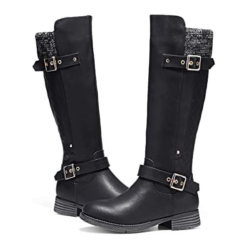 chollos oferta descuentos barato Camfosy Botas para Mujer Botas de Invierno hasta la Rodilla Botas Altas con Forro de Piel Zapatos cálidos de tacón bajo Botas Black Brown Grey