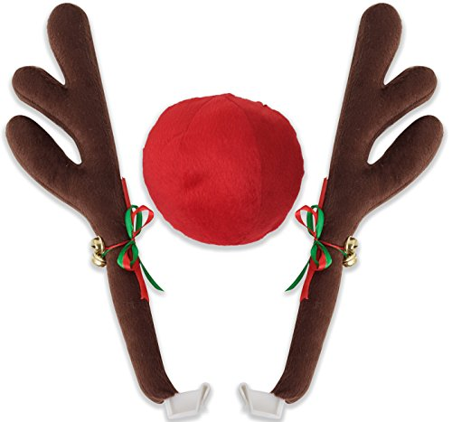 OxGord Car Reindeer Antlers & Nose - Window Roof-Top & Front Grille Rudolf Reindeer Jingle Bell Christmas Costume Auto Accessories
