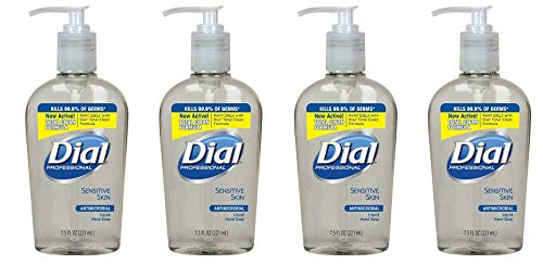 Dial Professional 82834 Liquid Dial Antimicrobial Soap For Sensitive Skin Decorative Pump 7.5 Oz. (Case of 12) (4-(Pack))