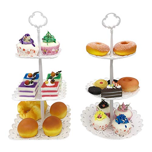 (FEOOWV 3-Tier Plastic Candy Dessert Patter Stands Set for Home Tea Party,Wedding,Baby Shower (A-White)