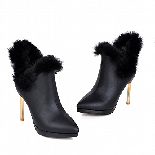 Latasa Womens Elegant Cold Weather Winter Pointed Toe Stiletto High Heel Ankle High Dress Boots Black a3zPuZUo2