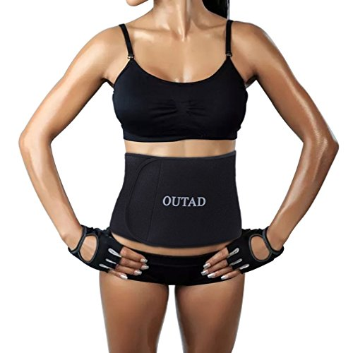 OUTAD Waist Trimmer Belt for Weight Loss,Waist Sweat Band for Women Slimmer,Girdles for Woman Body Shaper(M Size Black Side)
