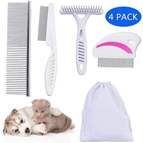 Tear Stain Remover Combs,Professional Pet Stainless Steel Grooming Combs,Undercoat Rake and Flea Dog Cat Comb…