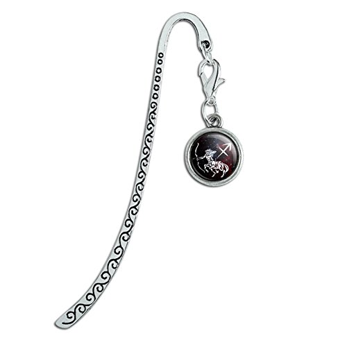 Sagittarius Archer Zodiac Sign Horoscope in Space Metal Bookmark Page Marker with Charm
