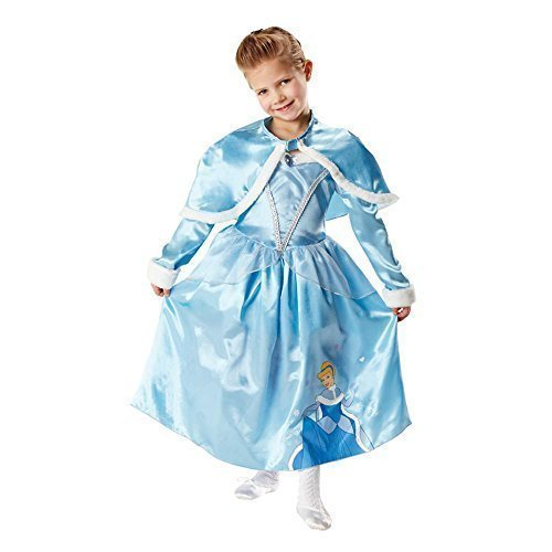 Girls Disney Princess Long Sleeved Deluxe Cinderella + Shrug Book Day Fancy Dress Costume Outfit 3-8 Years (5-6 Years) Blue
