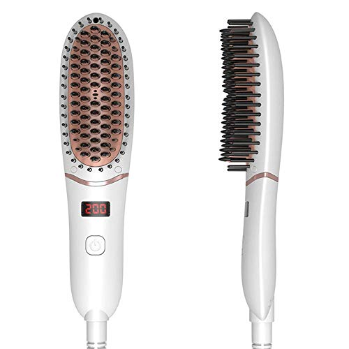 Negative Ionic Hair Straightener Brush for All Hair Types and Man s Beard, Portable Anti-scald LED Ceramic Hair Dryer Comb, Temperature Lock and Auto-Off Feature