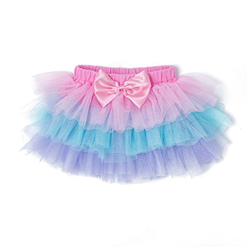 YukeBaby Pettiskirt Summer Lace Mesh Girls Skirt Baby Children Skirts Birthday Party Newborn Tutu Skirts (Tricolor) - Beautiful Baby Lace Skirt
