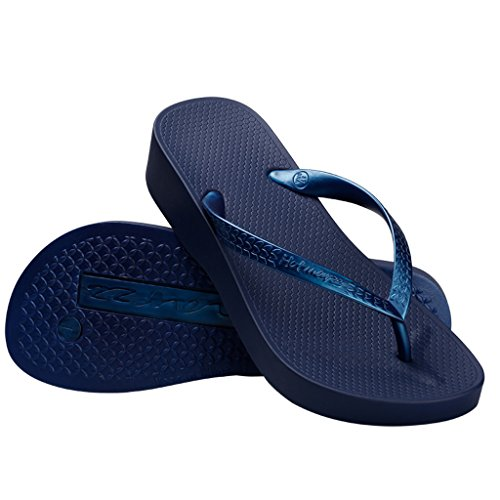 Platform Beach Slippers Heel Fashion Blue Flops Sandals Hotmarzz Women's Summer Stylish Flip High Wedge ZX16qP