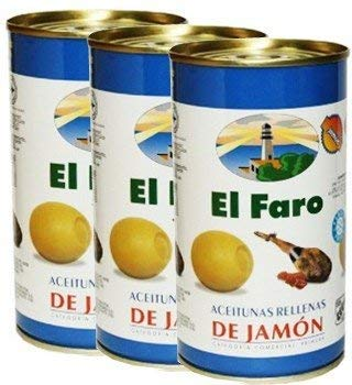 El Faro Olive Stuffed with Ham 12 oz Imported from Spain Pack of 3