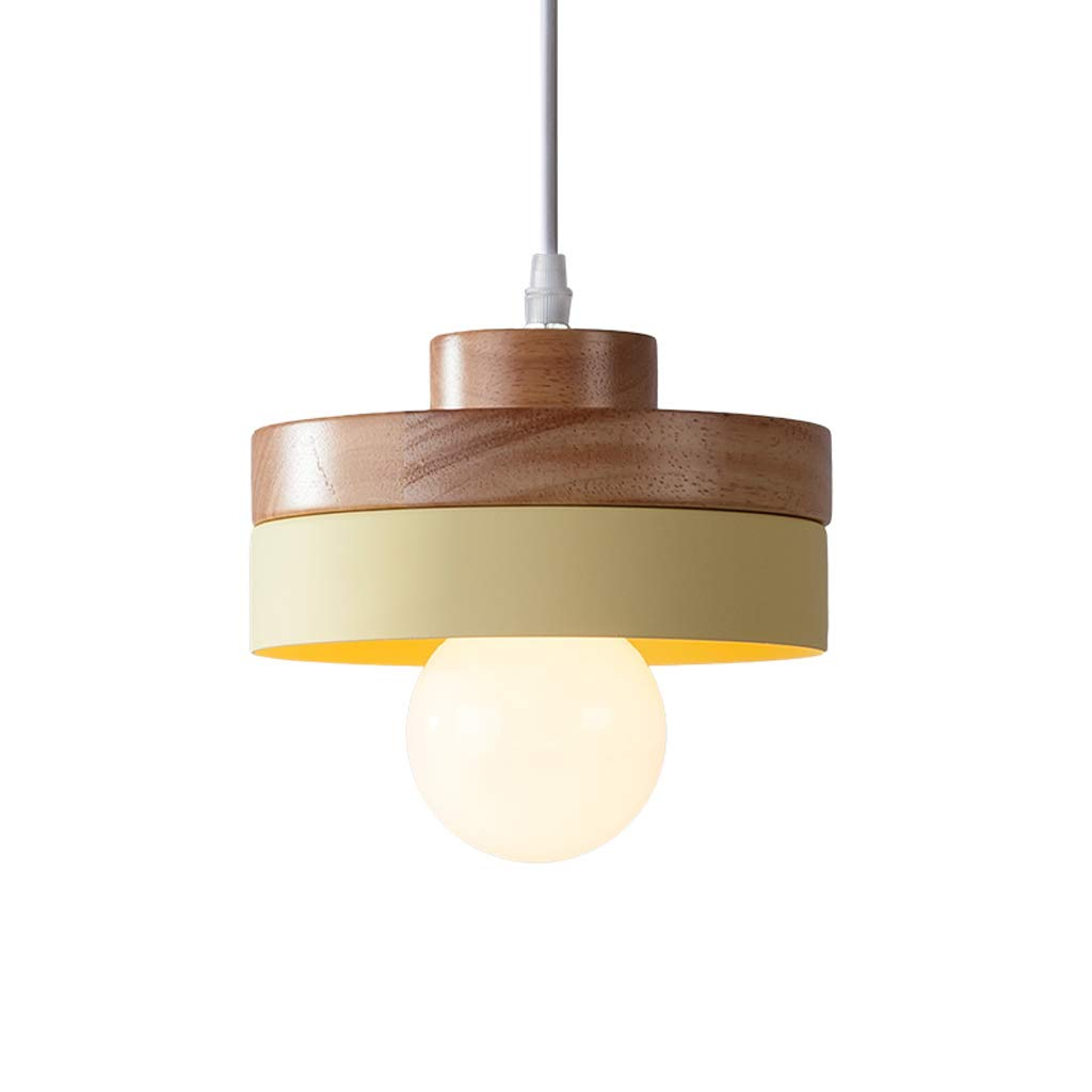 Simple Nordic Style Wooden Dining Room Lamp, Cute Children's Lamp Bar Bedroom Bedside Round Decorative Small Chandelier (Yellow) by Good chandelier (Image #1)