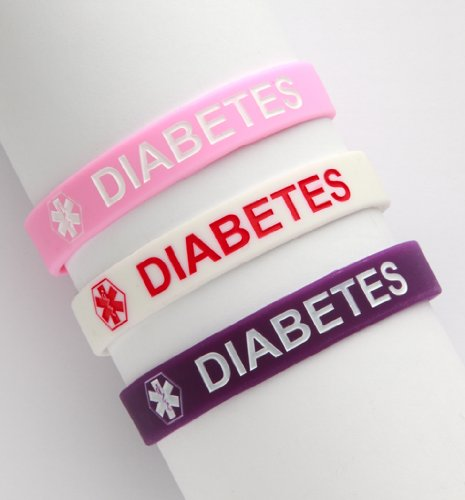 Adult Diabetes Silicone Wristbands - Lot of 3
