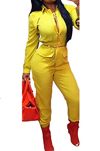 Mojessy Women Turn Dwon Collar Long Sleeve Zipper Blouson Elastic Waist Long Pants Ruched Jumpsuits Small Yellow -