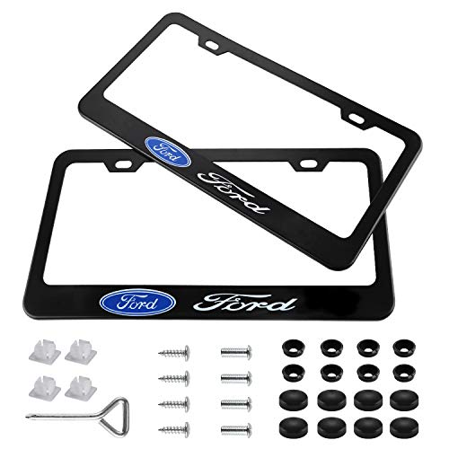 jiayuandz 2 Pieces Stainless Steel for Ford License Plate Frame with Screw Caps Cover Set, Matte Black ()