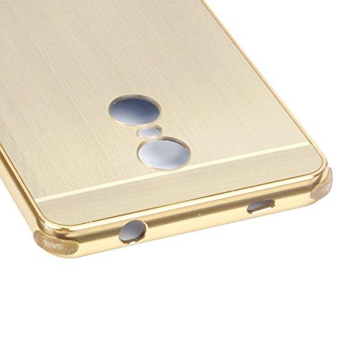 Xiaomi Redmi 4X Funda, TOTOOSE para Xiaomi Redmi 4X Ultra delgado Aluminio de lujo Marco de metal Bumper Caso con A prueba de choques Hard PC Back Protector de la cubierta Dorado Negro