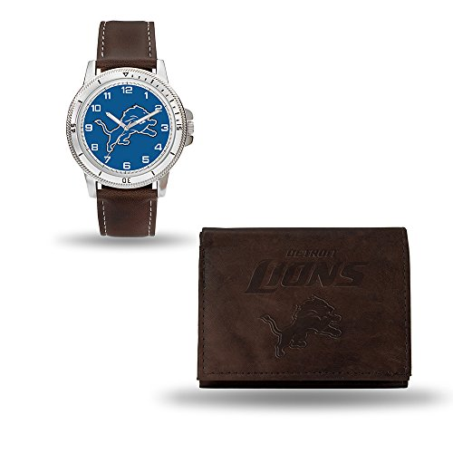 (Rico Industries NFL Detroit Lions Men's Watch and Wallet Set, Brown, 7.5 x 4.25 x 2.75-Inch)