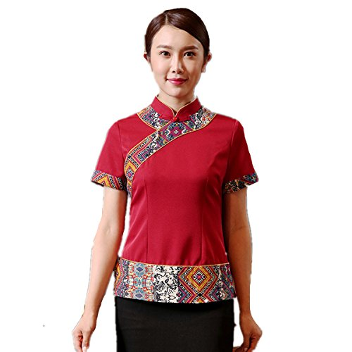 XINFU Waiter's Uniform Short-Sleeve Chinese Restaurant Hotpot Women Summer Mosaic Chef Coat