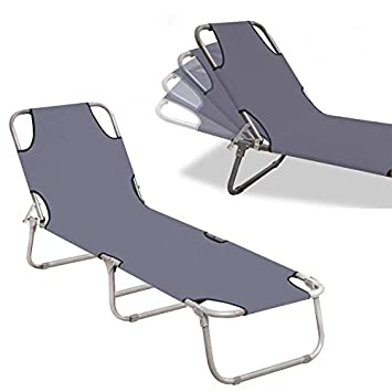 Sedie a Sdraio Lettino da Spiaggia con Tetto Lettino da Campeggio Regolabile con Tetto,Grigio UISEBRT Sedie Pieghevoli da Giardino 188x56x27 cm