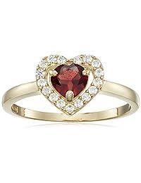 10k Yellow Gold Heart Birth Stone Ring