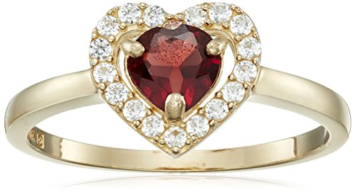 10k Yellow Gold Heart Garnet and Round Created White Sapphire January Birth Stone Ring, Size (Gold Round Garnet Heart)