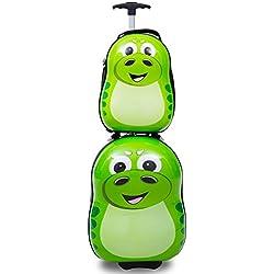 "Goplus 2Pc 13"" 19"" Kids Carry On Luggage Set Travel Trolley Suitcase (Dinosaur)"