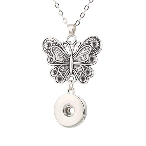 Gimax 18mm Butterfly Snap Button Pendant 60CM Necklace Charms Fashion Snaps Button DIY Jewelry Gift for Women 3227 - (Metal Color: 18mm)