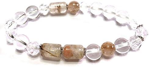 【Malline マリン】金運 幸運 お守り ルチルクォーツ 水晶 着物 に合う 天然石 パワーストーン ブレスレット 内周 約16cm 浄化 水晶 交換紐 付き