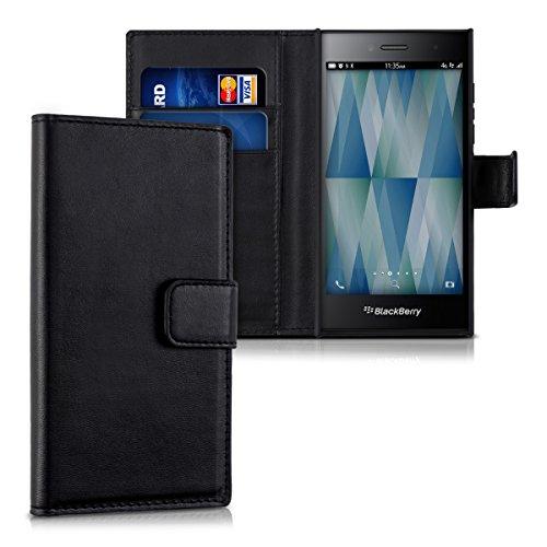 kwmobile Wallet Case Hülle für Blackberry Leap - Cover Flip Tasche mit Kartenfach und Ständerfunktion in Schwarz